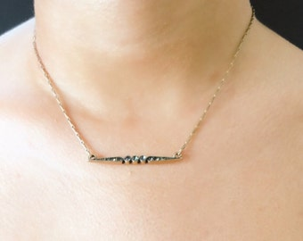 Antique Gold Bar Necklace, CZ Crystal Necklace