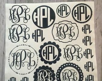 Sheet of monograms, back to school monograms, monogram decal sheet