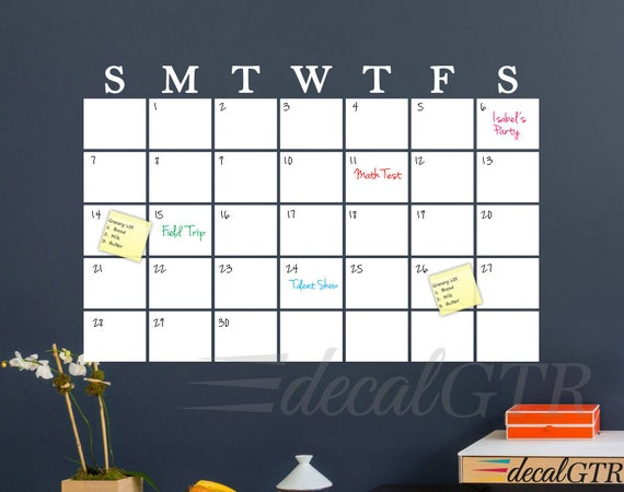 Dry Erase Wall Calendar Decal White Board Calendar Decal