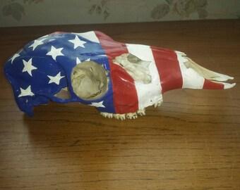 Patriotic deer skull