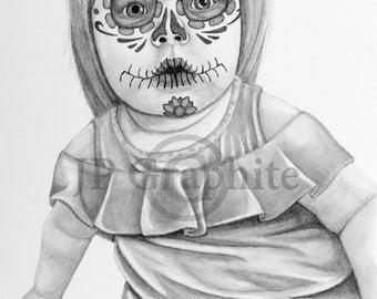longhorn sugar skull graphite pencil drawing of a longhorn