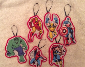 Six Avengers Christmas Ornaments