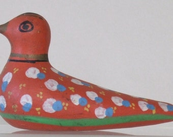 Vintage Mexican Pottery Dove: Red