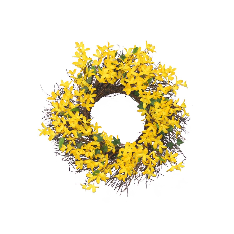 Forsythia wreath yellow - Summer Wreath Yellow Forsythia Wreath Floral Spring Front Door