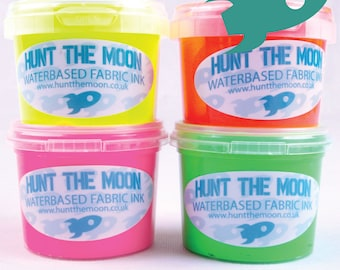 Hunt The Moon - Fluorescent Screen Printing Ink - Waterbased 4x 120ml - Fluro Neon
