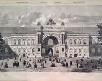 1855 Champs Elysees, Paris exhibition original antique print from engraving