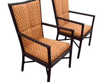 Pair Of Orlando Diaz Azcuy High Back Chairs For McGuire