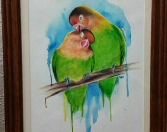 Love birds watercolor original painting. Framed.