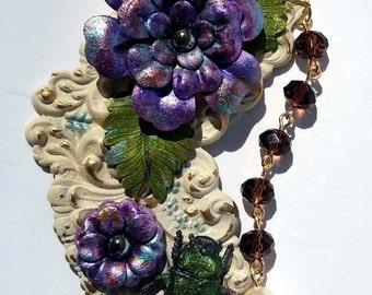 Victorian Collage Flower and June Bug Necklace