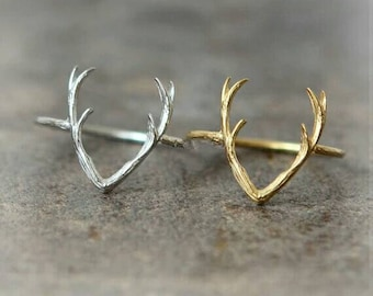 Dainty Deer Ring, Dainty Jewelry, Minimalist Ring, Everyday Ring, Simple Ring, Fine Jewelry, Woman Jewelry, Tiny Ring, Midi Ring