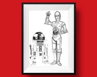 R2D2 print, C3PO print, Nursery wall art print,  printable art, Instant Download