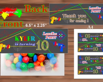 Lazer Tag Favor Bag Toppers-Personalized-Printable-PDF