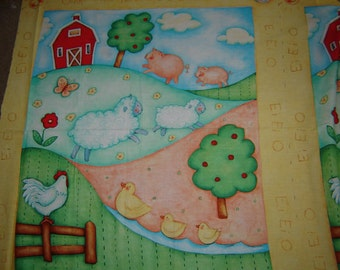 1 Panel Down on the Farm Sheep Pig Chicken Duck Fabric 928