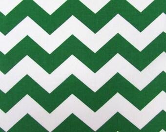 "Chevron, 1"" Green Fabric By the Yard"