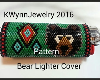 Bead Pattern Bear Lighter Cover in Peyote Stitch