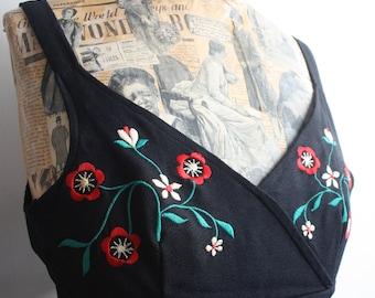 Vtg 70's Black Embroidered Radley Dress