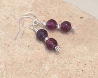 Purple fluorite gemstone bead drop earrings, gemstone earrings, sundance style earrings, Hill Tribe silver earrings, silver drop earrings