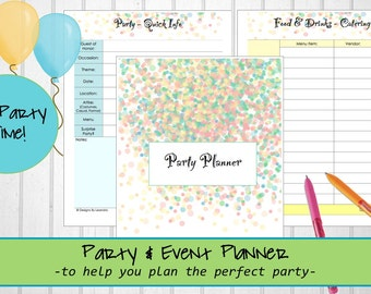 Printable Party Planner, Event Planner, Party and Event Planner, Plan the Perfect Party, Party Planner, Printable Event Planner