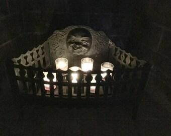 Fabulous Antique Cast Iron Winking Moon Fire Basket Fireplace
