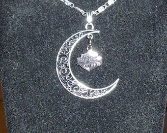 Moon Shaped Biker Necklace with Charm