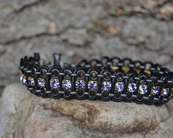 Black and Purple Leather and Chain Bracelet