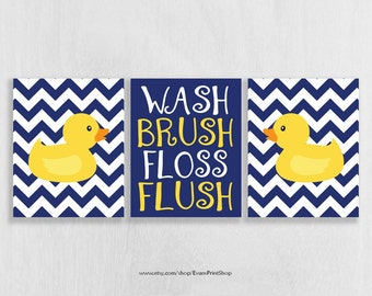 Bathroom Wall Art Prints Set of 3 - Bathroom Decor - Rubber Ducky Bathroom - Childrens Bathroom Art - Shared Bathroom - Navy and Yellow Bath