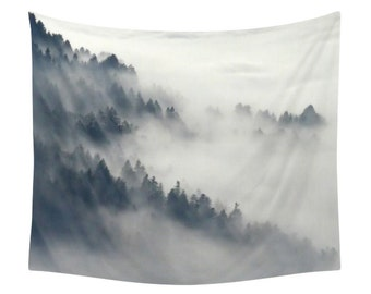 Mountain Tapestry, Fog In The Forest, Mist Landscape Print, Wall Tapestries, Decor, Winter, Nature, Snow, Photography, Art, White, Blue