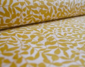 Organic cotton flannel fabric. Branch, citron, by Cloud 9, per half metre