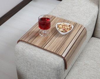 Sofa Tray Table ( European Walnut ),Sofa Arm Tray, Armrest Tray, Sofa Arm Table, Coffee Table and Lap Desk, Sofa Table, Wood Gifts, Mom