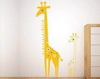 Giraffe wall sticker - children growth chart wall decal - measure your kid's height with this mural