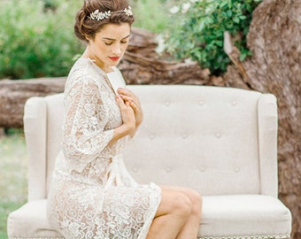 Lace Bridal Robe Dressing Gown in Gold and Ivory Floral
