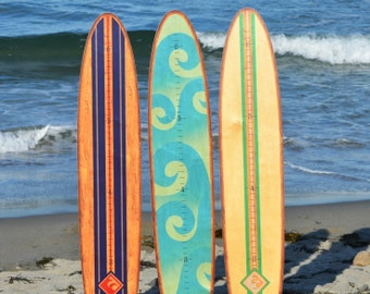 Longboard Surfboard Wooden Growth Chart / Kids Wood Height Chart / Baby Shower Gift / Personalized Growth Charts / The Wave