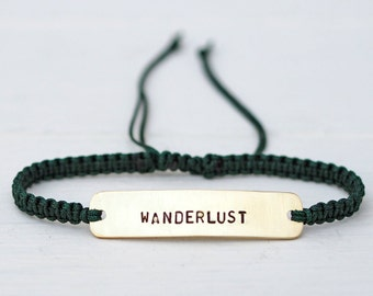 Wanderlust Brass or Sterling Silver Macramé Bracelet, Choice Of Colours Available
