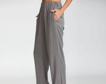 Gray Trousers, women pants, elastic waistband pants, cotton pants, Casual Pants, casual, Loose fit pants,