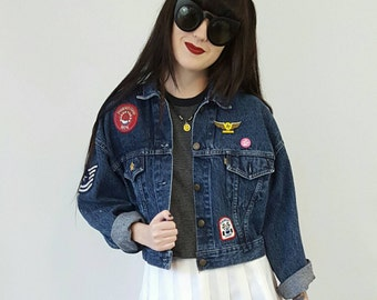 1990s Vintage Jean Jacket with Patches Small - 90s Cropped Denim Jacket - Women Stonewash Grunge Denim Jacket Upcycled Patched DIY