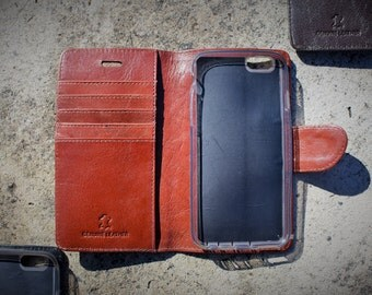 Handmade iPhone 5/5s/SE Case Genuine Real Leather in Rich, Tan, Dark Brown or Black by Ebb & Flow