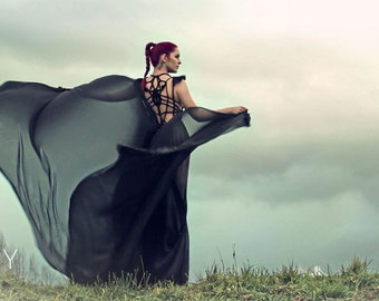 """Floor-length handmade Gown """"Scorpio"""" with very long train, ROHMY Gold Label /// Evening Gown /// Eden Collection"""