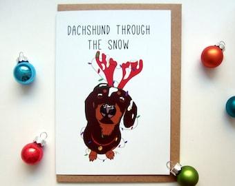 Christmas Dachshund Card, Dachshund Snow Card, Funny Xmas Card, Dog Christmas Card