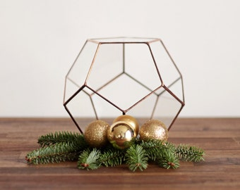 Geometric Terrarium Container, Wedding Centerpiece, Stained Glass Decorative Planter, Copper Home Decor, Girlfriend Gift, Mothers Day Gift