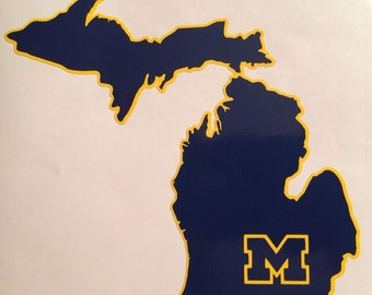 """University Of Michigan Wolverines Decal Maize & Blue 5.0""""x5.5"""""""