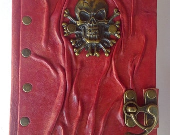 Skull Notebook Journal Diary Sketchbook /Creased Lamb Leather With C-Hook Lock