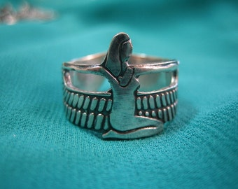 "Unique oxidized Egyptian Sterling Silver Ring ""Winged Isis"""