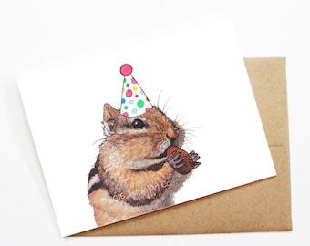Birthday Card - Chipmunk, Animal Birthday, Animal Card, Cute Greeting Card, Kids Birthday Card, Baby Birthday Card, Chipmunk Birthday