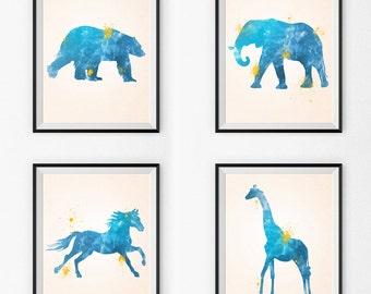 Watercolor Nursery Art Set Of 4 - Watercolor Nursery Art - Wall Art - Animals - Watercolor Canvas - Watercolor Print - Watercolor Paintings