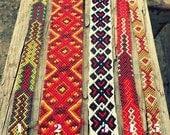 Aztec hippie friendship bracelet. Handwoven wristband. Wide. red. khaki. ivory. white. mustard. girlfriend boyfriend gift vegetarian hipster