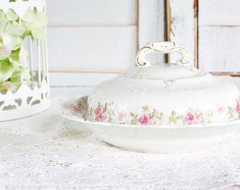 John Maddock & Sons Royal Vitreous Butter Dish, Dome Dish - Pretty Vintage Servingware, Floral Butter Dish, Vintage Butter Dish