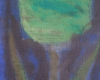Silk scarf hand painted/ Dark Blue green silk scarf/ Floral scarf shawl /Painted by hands scarves/ Silk painting/ Birthday
