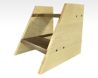 modern wood step stool two step bed kids children in hickory and walnut by candlewood furniture