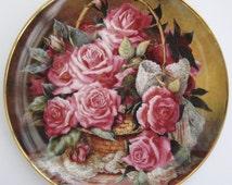 Grace De Monaco Rose Plate by Katherine Austen, The Franklin Mint, Made in Portugal