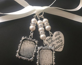 Bridal Bouquet Double Photo Frame and Heart Memory Charm Wedding Handmade Swarovski